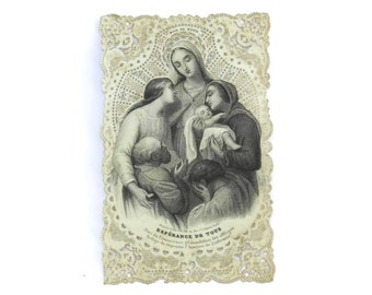 Antique French Cavinet Holy Card. 19th Century Cavinet Prayer Card. Lace Paper Postcard.