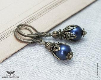 Navy Blue Pearl Earrings made with Swarovski Crystal Pearls, Edwardian Earrings, Antiqued Bronze Vintage Style Earrings, Handmade UK