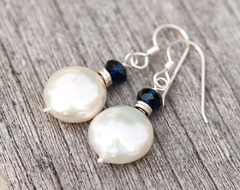 White Coin Pearl Earrings, Baroque Pearl Earrings, Large White Pearl Earrings, Freshwater Pearl Earrings, Wedding Pearls, Bridal Pearls