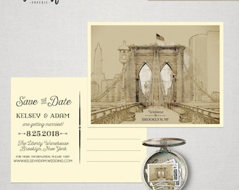 Brooklyn New York Destination illustrated Save the date postcard - wedding invitation Brooklyn Bridge map Artist sketch Deposit Payment