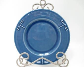 Varages Libellule Blue Dragonfly Embossed Salad or Accent Plate France