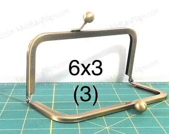 Set of (3) 6x3 Antique Brass purse frames