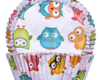 Owls Cupcake Cases 50x25mm x60