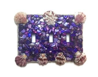 Purple Seashell triple switch plate hand made - Beach Ocean Decor - white Jute Outline - Seashell faceplate - seashell light switch royal