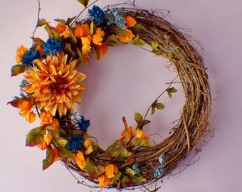 Front Door Wreaths, Wreath for Front Door, Dahlia Daisy Wreath, Orange Blue Wreath, Summer Wreath, Fall Wreath, Mothers Day, Ready to Ship