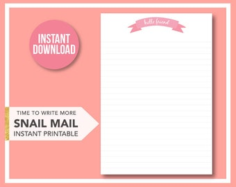 """Printable stationery, """"Hello friend"""", letterhead, A4 and Letter sizes"""