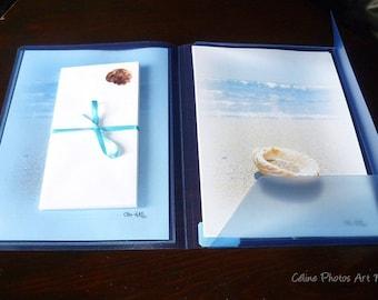 Papier à lettres réalisé à partir des  photos de bord de mer de Céline Photos Art Nature