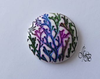 """Colorful texture"" #4 40mm polymer clay cabochon"