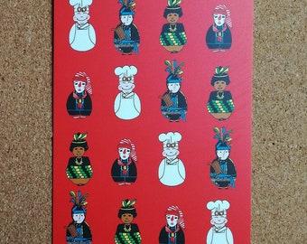Cwarmê red postcard