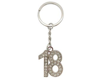 Silver Plated Rhinestone Crystal 18th Keyring Keyfob Keychain 18th Birthday Gift Idea