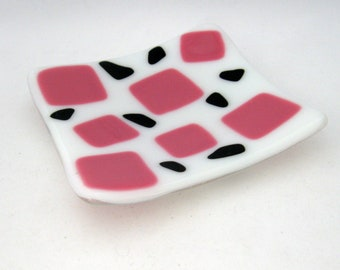 Square Art Glass Dish, pink black decor