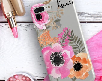 Autumn clear Iphone 7 case, Fall Iphone 6s case with design, Orange pink green,  Gift For Her, Fits 5/5s/SE,  6/6s /Plus, 7 /Plus (1807)