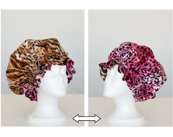 Brown Tiger Satin Hair Bonnet