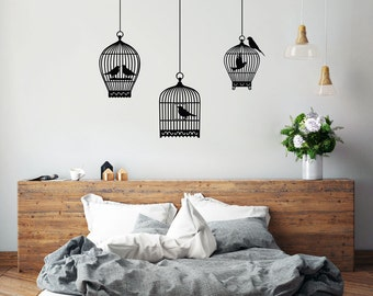 Set of Three Birdcages Wall Decal