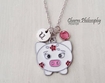 Colorful Pig Necklace - Girly Pig Jewelry -  Monogram Personalized Initial and Birthstone - Little Girl Necklace