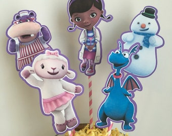 Disney Doc McStuffins Set of 5 Birthday Centerpiece Picks (Double-Sided) Cake Toppers / Birthday Party / Decorations / Supplies / Decor