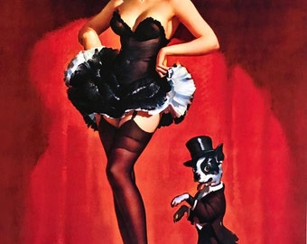 ELVGREN - LUCKY DOG Burlesque pin-up with corset, garters, nylons stockings and Boston Terrier Pinup