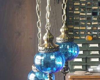 Turqoise Glass Globe Chandelier, Mid Century Hanging light with three globes