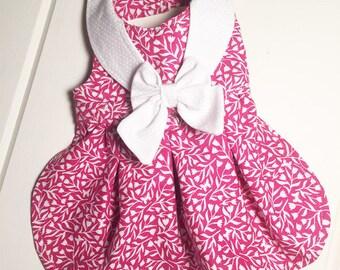 Pretty Pink Tulip Print Dog Dress