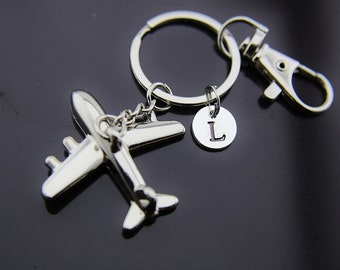 Traveler Gift, Travel Gift, Adventure Gift, Outdoors Gift, Silver Airplane Charm Keychain, Airplane Keychain, Airplane Charm