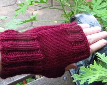Burgundy Fingerless Gloves,  Knitted Texting Gloves, Hand Knit Fingerless Mittens