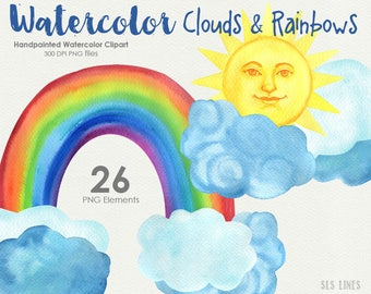 clouds and rainbows watercolor clipart, weather graphics, sunshine clip art by SLS Lines, blue and yellow