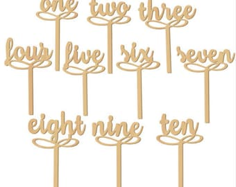 Set of 10 table numbers in woodcut from 1 to 10