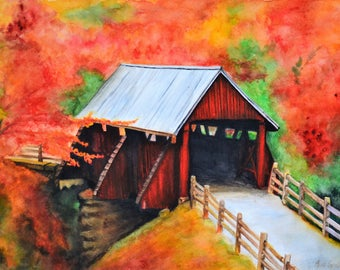 """Red Fall,fine art giclee reproduction of an original watercolor painting by Meike Geisler,15.5"""" x 11.25"""",red covered bridge in the fall"""