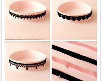 Choker necklace, Lace choker, Velvet choker, Choker, Layering necklace, Black choker, pink choker