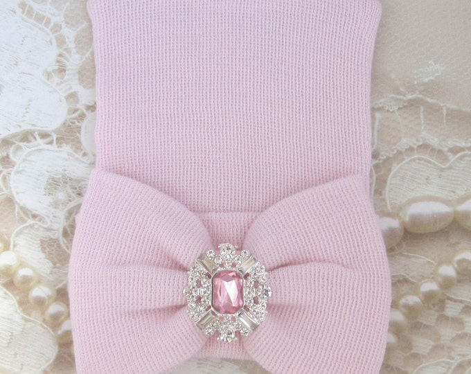 Baby Pink Rhinestone Newborn Hospital Hat, matching fabric bow, double ply, hospital grade, beenie, baby hat, Lil Miss Sweet Pea Boutique