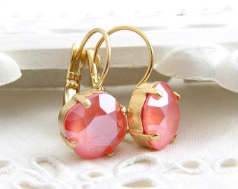 Light Coral Earrings ~ Swarovski Cushion Cut Stone ~ Coral Rose Earrings ~ Matte Gold ~ Gift for Her ~ Bridesmaid Gift ~ Beach Wedding