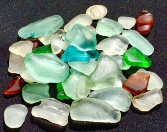 A-Sea Glass, Beach Glass oHawaii SALE! 50 BLUE! Only 29 dollars!  GIFT! Bulk Sea Glass! Sea Glass bulk!  Seaglass! Beach Glass!