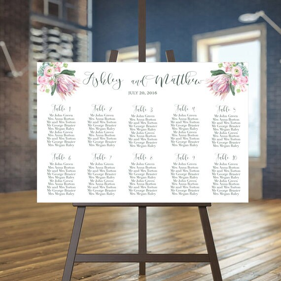 Wedding seating chart printable Succulent guests list Desert