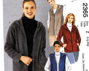 Easy Fitting JACKET and VEST Pattern by McCall's 2365  *Size L-XL
