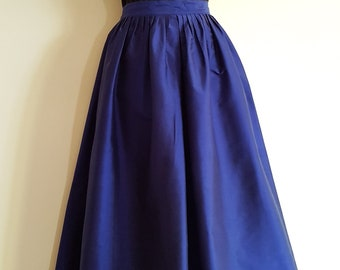 Vintage Royal Blue Full Length Silk Evening Skirt Size Small