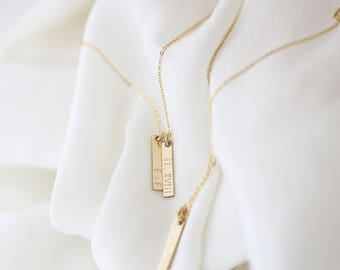 Gift for Mom, Gift for Her, Vertical Dainty Mini Bar Necklace, Custom, Personalized Initial Necklace, Mother's day jewelry gift