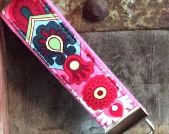 READY TO SHIP-Beautiful Key Fob/Keychain/Wristlet-Pink Wallpaper on Bubblegum-2
