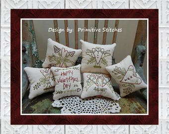 4-Ever Valentine Mini Collection 1-Primitive Stitchery  E-PATTERN by Primitive Stitches-Instant Download