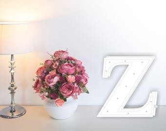Letter lights Z Marquee letter Z alphabet lights Marquee letters Nursery light Wooden letters Night light Kids lamp  Baby shower Lamp