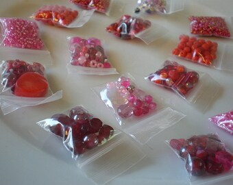 Destash - Glass Bead - Jewelry Making - Red Pink Bead - Seed Bead Mix - Craft Grab Bag - Assorted Variety - Inexpensive Cheap Bead Stringing