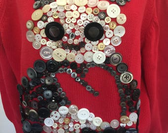 Vintage black and white buttons on Panda sweater