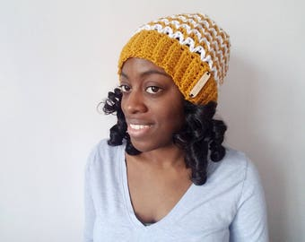Gold Crochet Striped Hat - Women's Winter Hat - Gift for Her - Winter Fashion Accessories - Pom Pom Beanie - Gifts for Women - Slouchy Hat