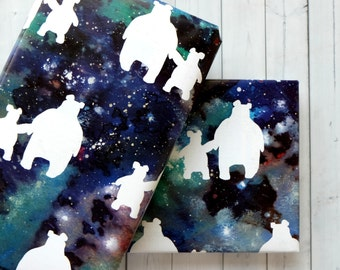 Wrapping Paper Sheets - Christmas Wrapping Paper - Christmas Gift Wrap - Celestial Effect - Bear And Cub Design