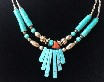 ON SALE Sterling Silver Turquoise Bead Necklace