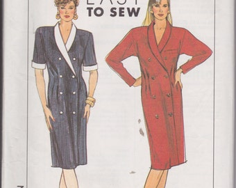 Simplicity 9406 Misses'/Misses' Petites Double Breasted Dress Sizes 8, 10, 12, 14 Vintage UNCUT Pattern