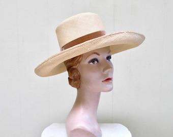 Vintage 1950s Hat / 50s Saks Fifth Avenue Natural Straw Wide Brimmed Sun Hat