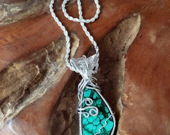 Lovely Orbed Malachite with Sterling Wire and Chain