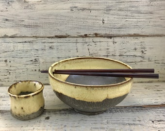 Pottery, Wheel Thrown Handmade Ceramic Stoneware Rice or Noodle Bowl with Sake Cup/Sauce Dipper