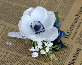 White Anemone Boutonniere Real Touch Flowers Anemone With Navy Center