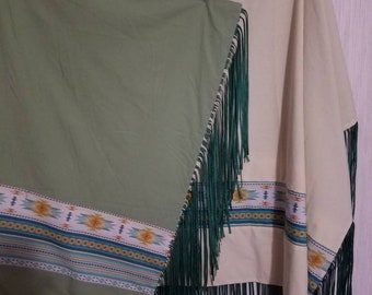 Native American inspired, reversible  Indian dance shawl, regalia